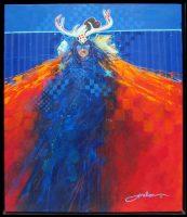 "Black Tail Deer Shaman Jim Nelson 25"" x 21"" acrylic on canvas $2350"