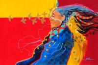 "Red Bird Jim Nelson 24"" x 36"" acrylic on panel $3900"