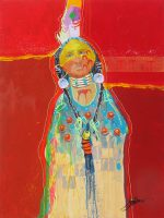 "Horse Thief's Daughter Jim Nelson 24"" x 18"" acrylic on panel $1950"
