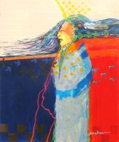 """Yellow Hand Jim Nelson 24"""" x 20"""" acrylic on panel $2175"""