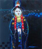 "He Walks at Night Jim Nelson 20"" x 16"" acrylic on panel $1675"