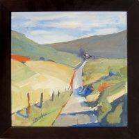 """Road to the Farm Sara Newton 14.5"""" x 14.5"""" oil on canvas $225"""