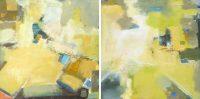 """Approach (diptych) Sara Newton 30"""" x 60"""" oil on canvas $2200"""