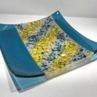 "Transparent Sky Blue Tray Tom Philabaum 11"" x 15"" Mediterranean fused glass $385"