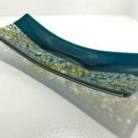 "Transparent Turquoise Blue Tray Tom Philabaum 5"" x 13"" Mediterranean fused glass $235"