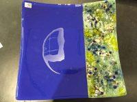 "Opal Cobalt/Mint Tray Tom Philabaum 10"" x 10"" Mediterranean fused glass $285"
