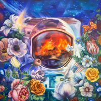 """Garden of Unearthly Delights Andrea Peterson  36"""" x 36"""" oil on canvas $2700"""