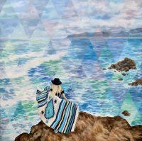 "Big Blue Andrea Peterson 44"" x 44 oil on canvas $3750"