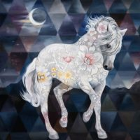 """Ghost Moon Andrea Peterson 48"""" x 48"""" oil on canvas $3950"""
