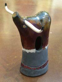 "Longhorn - brown - large Alan Potter  8-1/2"" x 5"" x 4"" ceramic $125"