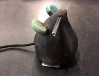 Mouse Standing  (Grey & Turquoise) Alan Potter ceramic $30