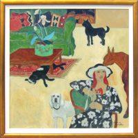 """Saga of a Green Sofa Jacqueline Rochester 45.75"""" x 45.75"""" oil on canvas $11,800"""