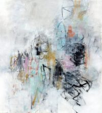 "Change of Plan Julie Schumer  59"" x 54"" mixed media on canvas"