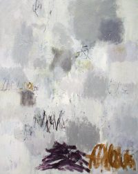 "Gray Landscape with Violet Julie Schumer  60"" x 48"" mixed media on canvas $6100"