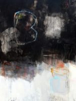 """Dialogue with Black XIII Julie Schumer 48"""" x 36"""" mixed media on canvas $4800"""