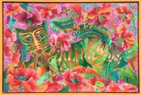 "Green Tiger Rolling In Flowers Rachel Slick 25-1/2"" x 37-1/2"" mixed media on panel $750"