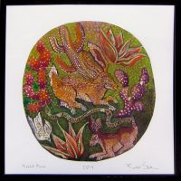 "Rabbitt Moon Rachel Slick 20-3/4"" c 20-3/4"" dye, oil & acrylic on paper $300"
