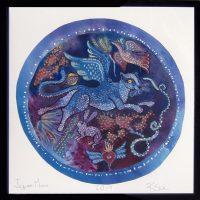 "Jaguar Moon Rachel Slick 20-3/4"" c 20-3/4"" dye, oil & acrylic on paper $300"
