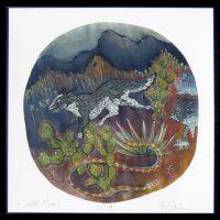 """Coyote Moon Rachel Slick 20-3/4"""" c 20-3/4"""" dye, oil & acrylic on paper $300"""
