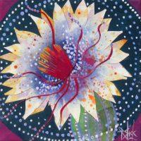 "Night Bloom Star Flower Rachel Slick 8"" x 8"" mixed media $125"