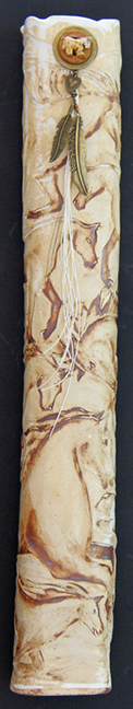 Golden Palomino Carved Horse Fable Column