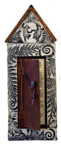 """Bear Fable - Tall Tale House Jill Smith 21"""" x 8"""" Wood, Metal, Metallic raku Clay $360"""