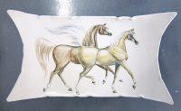 """RAJA Horses IV Jill Smith 5"""" x 16"""" hand painted ceramic"""