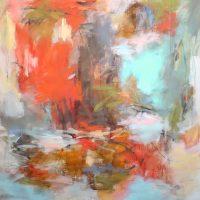 "Fire and Rain Debora Stewart 55"" x 55"" acrylic on canvas $5200"