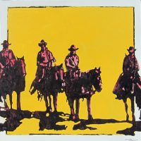 "Desert Riders Michael Swearngin 30"" x 30"" acrylic on canvas $2200"
