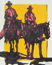 """Pair of Riders Michael Swearngin 20"""" x 16"""" acrylic on canvas $800"""