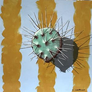"""Small Opuntia II by Timothy Chapman, 8"""" x 8"""", acrylic on wood panel"""