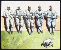 "The Baseball Men with Dog Thom Ross 44.5"" x 54"" acrylic on canvas $10,500"