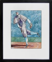 "Shortstop Thom Ross 17"" x 14.25"" watercolor on paper $2800"