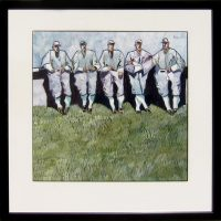 "The Baseball Men Thom Ross 20"" x 20"" watercolor on paper $3600"