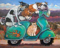 """Feline Enrichment Connie R. Townsend 24"""" x 30"""" acrylic on canvas $2400"""