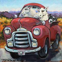 "Eweber 4 (Sheepish) Connie Townsend 18"" x 18"" acrylic on canvas $1100"