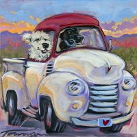 """Dave's New Truck Connie Townsend 12"""" x 12"""" acrylic on canvas $450"""