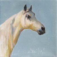 "White Mare Chaille Trevor  6"" x 6"" oil on canvas $160"