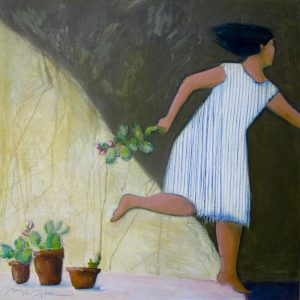 "The Cactus Thief by Peggy McGivern, 24"" x 24"", oil on canvas, $2,700"