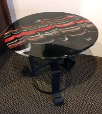 Accent Table - Black / Red Adriana Walker Fused Glass Top on Iron Base $490