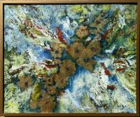 "Flowers Adriana Walker 31-1/2"" x 37-1/2"" mixed media on canvas $1950"