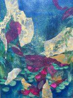 "Water Lilies Adriana Walker  48"" x 36"" mixed media on canvas $2450"