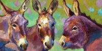 """Every Day is Donkey Day Sarah Webber  18"""" x 36"""" oil on canvas $3295"""