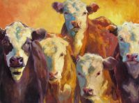 """High and Low Heifers Sarah Webber  36"""" x 48"""" oil on canvas $5800"""