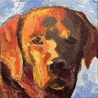 """Mini Lab #1 Sarah Webber 3"""" x 3"""" oil on canvas $75"""