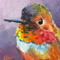 """Little Peepers  Sarah Webber 6"""" x 6"""" acrylic on canvas $295"""