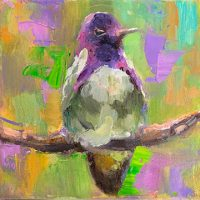 """Pretty With Perched Sarah Webber 6"""" x 6"""" oil on canvas $295"""