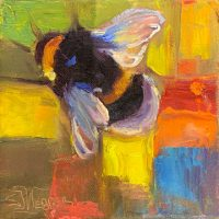 "Abstract Bee #2 Sarah Webber 6"" x 6"" oil on canvas $295"
