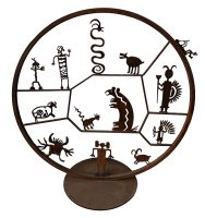 "Standing Petroglyph Circle Doug Weigel  67"" Dia steel $3600"