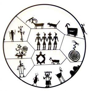 "Petroglyph Circle by Doug Weigel55""patina, steel$3400"